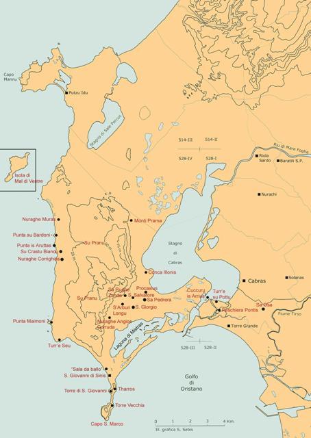 Mappa della Costa del Sinis